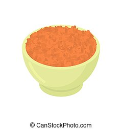 Bowl of red lentils cereal isolated. Healthy food for ...