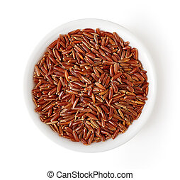 Bowl of red rice isolated on white, from above