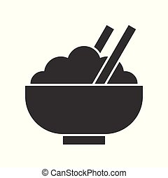 bowl of rice and chop stick, food and beverage set, glyph design icon