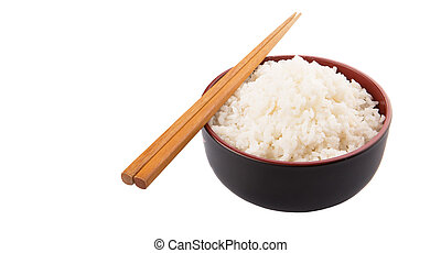 A bowl of rice and a pair of chopstick over white background