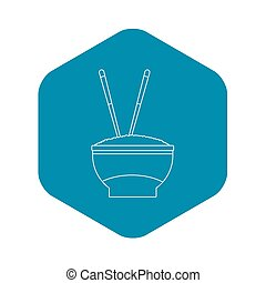 Bowl of rice icon, outline style