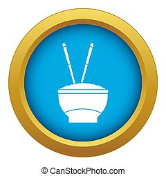Bowl of rice with chopsticks icon blue isolated
