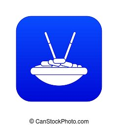 Bowl of rice with chopsticks icon digital blue