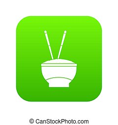 Bowl of rice with chopsticks icon digital green