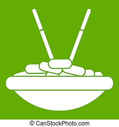 Bowl of rice with chopsticks icon green