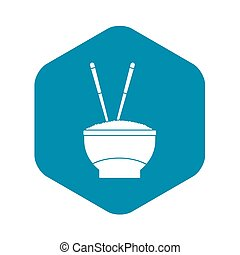 Bowl of rice with chopsticks icon, simple style