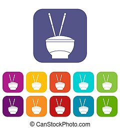 Bowl of rice with chopsticks icons set flat