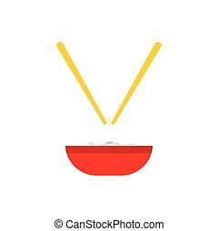 Bowl of rice with pair of chopsticks icon in flat style...