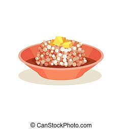 Bowl of sago pudding with butter on top. Malaysian food. Asian cuisine. Flat vector icon