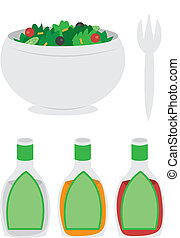 Bowl of Salad - Cartoon bowl of salad with dressing and fork