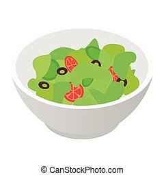 Bowl of salad isometric 3d icon