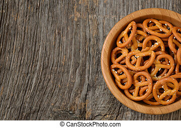Bowl of salty pretzels
