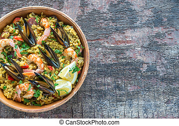Bowl of seafood paella