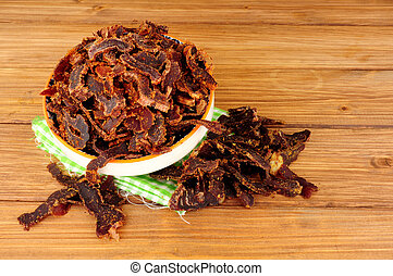 Bowl Of Shredded Biltong Meat