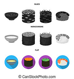 Bowl of soup, caviar, shrimp with rice. Sushi set collection icons in black, flat, monochrome style bitmap symbol stock illustration web.