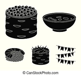 Bowl of soup, caviar, shrimp with rice. Sushi set collection icons in black style vector symbol stock illustration web.
