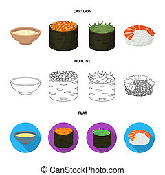 Bowl of soup, caviar, shrimp with rice. Sushi set collection icons in cartoon, outline, flat style bitmap symbol stock illustration web.