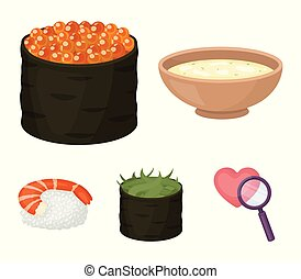 Bowl of soup, caviar, shrimp with rice. Sushi set collection icons in cartoon style vector symbol stock illustration web.