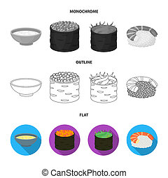 Bowl of soup, caviar, shrimp with rice. Sushi set collection icons in flat, outline, monochrome style bitmap symbol stock illustration web.