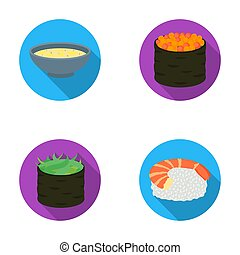 Bowl of soup, caviar, shrimp with rice. Sushi set collection icons in flat style raster, bitmap symbol stock illustration web.