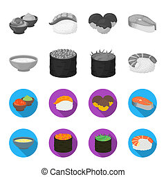 Bowl of soup, caviar, shrimp with rice. Sushi set collection icons in monochrome, flat style bitmap symbol stock illustration web.