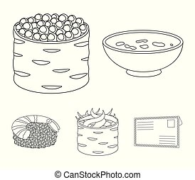 Bowl of soup, caviar, shrimp with rice. Sushi set collection icons in monochrome style vector symbol stock illustration web.