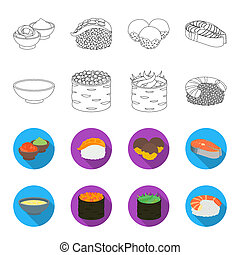 Bowl of soup, caviar, shrimp with rice. Sushi set collection icons in outline, flat style bitmap symbol stock illustration web.
