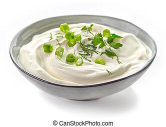 Bowl of sour cream sauce