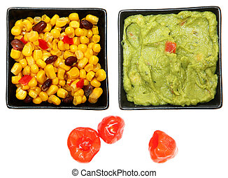Bowl of Southwestern Corn, Guacalmole and Peppadew Peppers