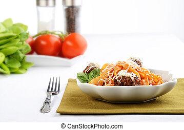 bowl of spaghetti and meatballs