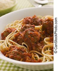 Bowl of Spaghetti Meatballs in Tomato Sauce