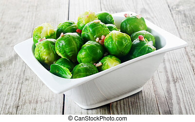 Bowl of steamed brussels sprouts