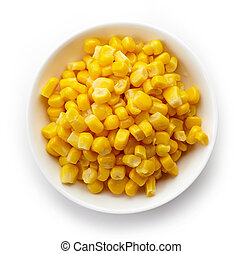 Bowl of sweet corn from above