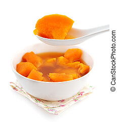 Bowl of sweet potato soup. Asian style dessert soup. Cooked...