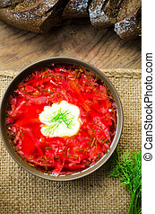 bowl of Ukrainian traditional beetroot soup borscht
