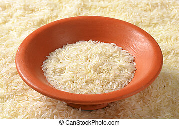 Bowl of uncooked Thai Jasmine rice