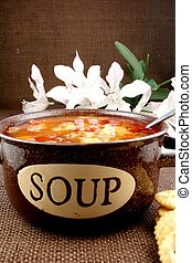 Bowl of vegetable beef soup - Bowl of home made vegetable...