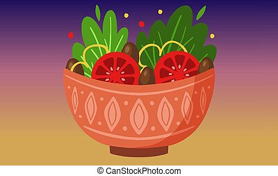 bowl of vegetable on rainbow background
