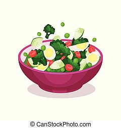 Bowl of vegetable salad with egg, healthy eating concept vector Illustration