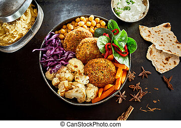 Bowl of vegetables and cutlets served