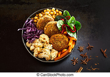 Bowl of vegetables with cutlets