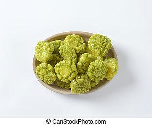 bowl of wasabi crackers
