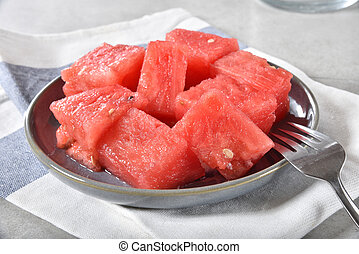 Bowl of watermelon cubes