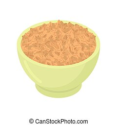 Bowl of wheat cereal isolated. Healthy food for breakfast. Vector illustration