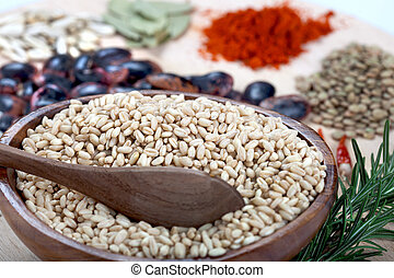 Bowl of wheat, lentil and red chili