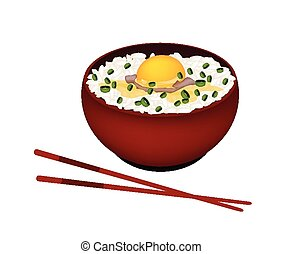 Bowl of White Rice with Raw Egg and Scallion - Japanese...