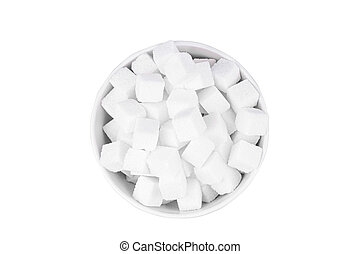 bowl of white sugar on a white background top view