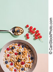 Bowl of whole grain cereal rings with blueberries isolated on pastel background. breakfast of cereal with blueberries, red currant and milk. Healthy breakfast with corn rings, red currant berries, yogurt. Copy space.