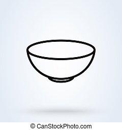 bowl outline Simple vector modern icon design illustration.