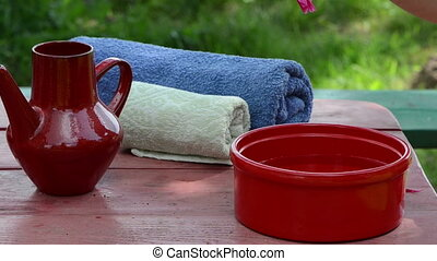 bowl towel on table